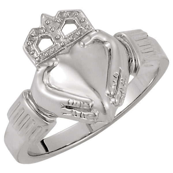 14k White Gold 14.5x10.5mm Ladies Claddagh Ring, Size 6
