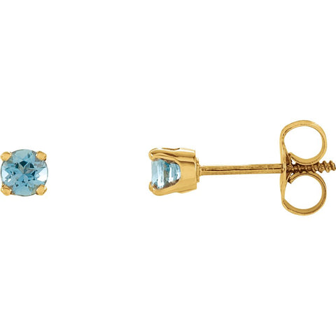 14k Yellow Gold Imitation Blue Zircon Kid's Earrings