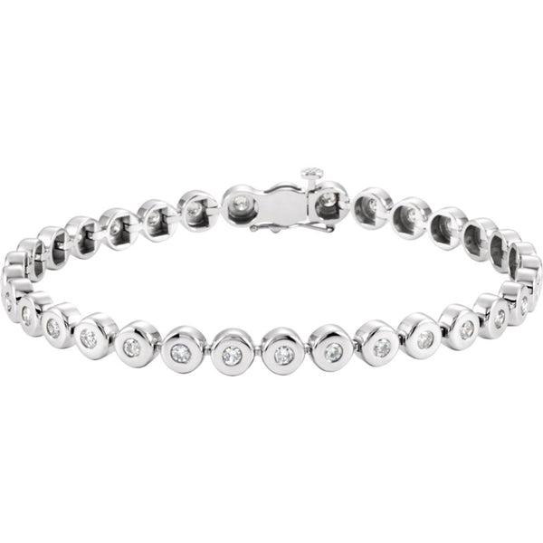 "14k White Gold 2 CTW Diamond Line 7.25"" Bracelet"