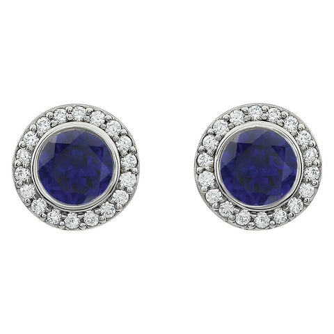 Sterling Silver Dark Blue Cubic Zirconia Earrings