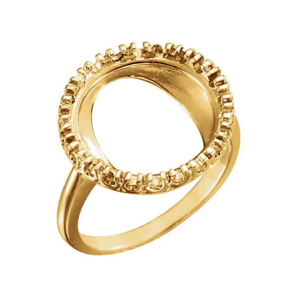 14k Yellow Gold 13.9mm Coin Ring Mounting, Size 6