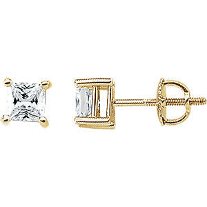 14k Yellow Gold 4.5mm Cubic Zirconia Square Earrings with Screw Posts & Backs