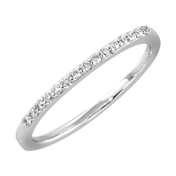 14k White Gold 1/8 CTW Diamond Anniversary Band Size 7
