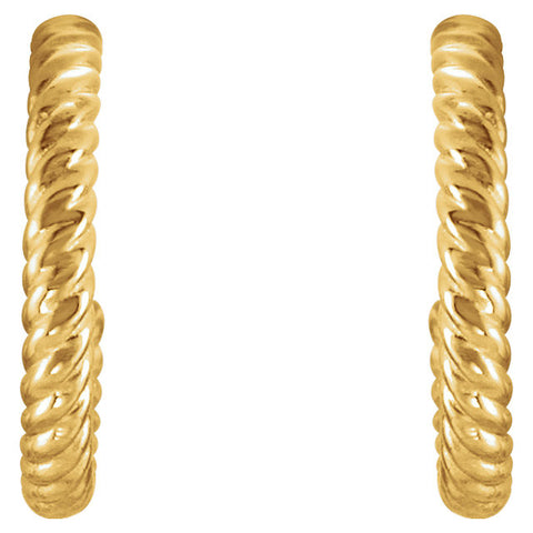 14k Yellow Gold 12mm Rope Design Hoop Earrings
