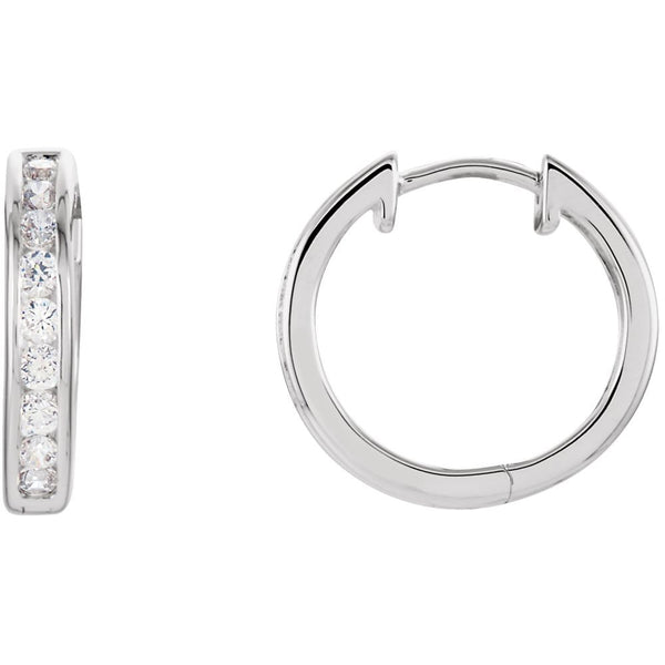 Sterling Silver Cubic Zirconia Hinged Hoop Earrings