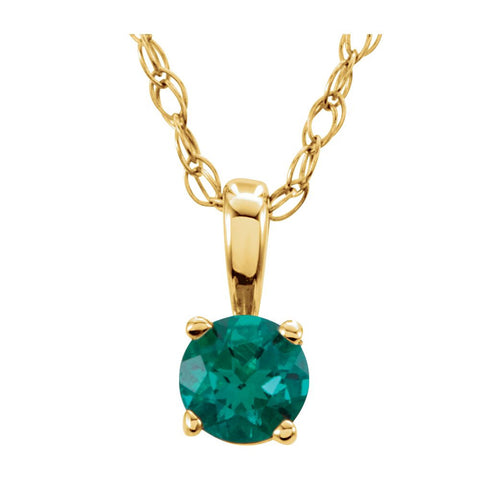 "14k Yellow Gold Imitation Emerald ""May"" Birthstone 14-inch Necklace for Kids"