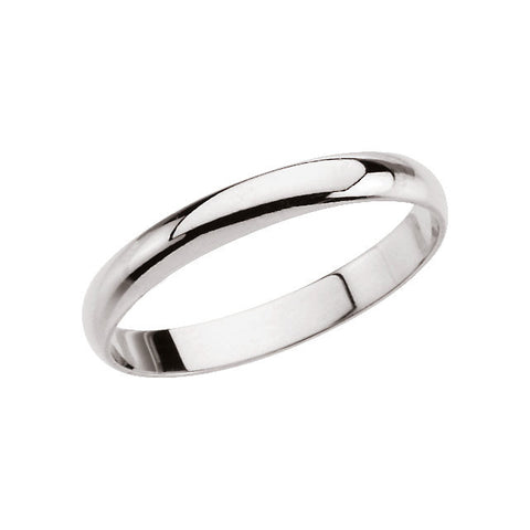 14k White Gold Youth Band Size 3