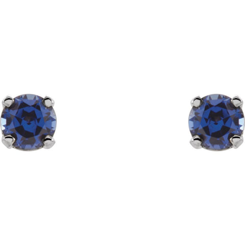14k White Gold Imitation Blue Sapphire Youth Earrings