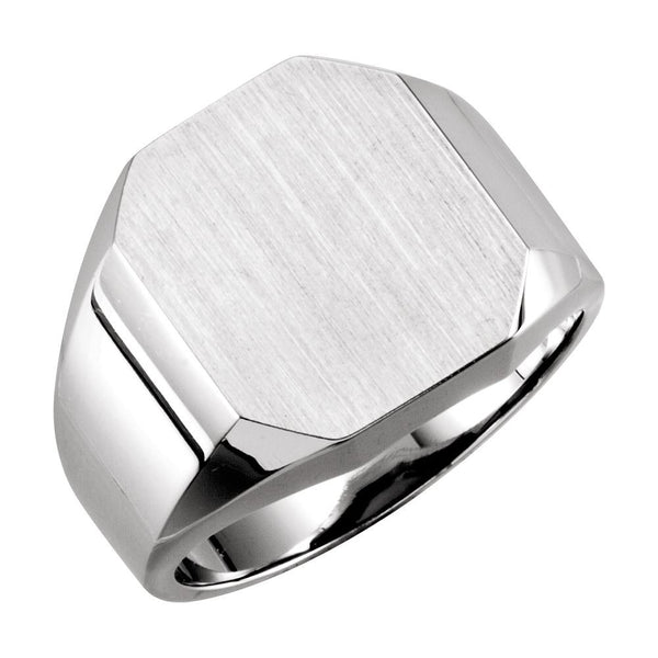 14k White Gold 14x16mm Men's Signet Ring , Size 10