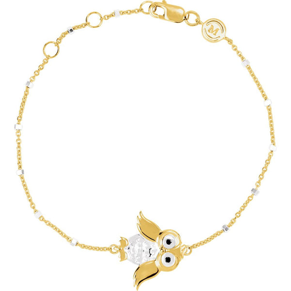 "18k Yellow Gold Vermeil Owl 7.5"" Bracelet for Wisdom"
