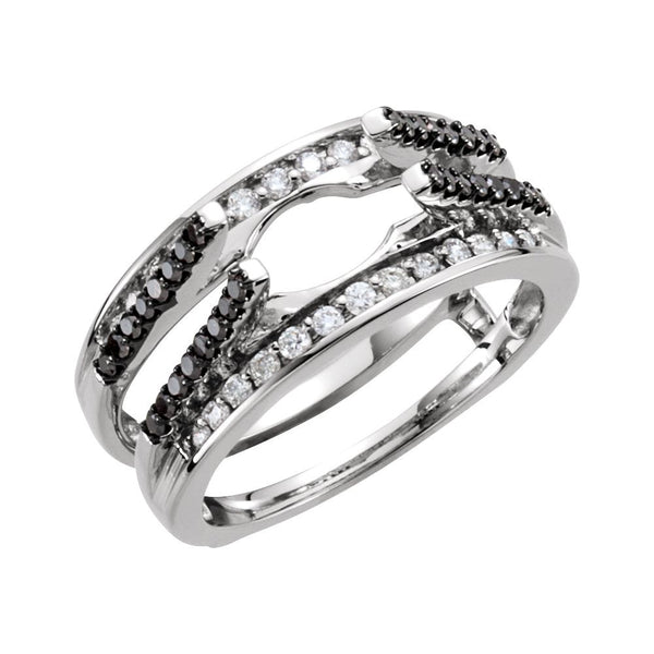 14k White Gold 1/2 CTW Black & White Diamond Ring Guard, Size 7