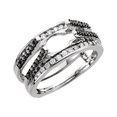14K White Gold 1/2 CTW Black & White Diamond Ring Guard (Size 6)