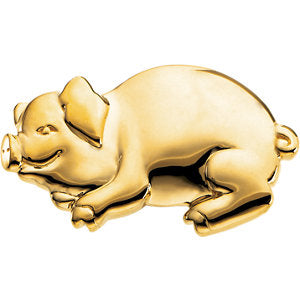 17.25x29.25 mm Bonnie The Pig Brooch in 14K Yellow Gold