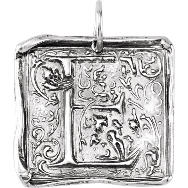 "Sterling Silver Initial ""E"" Vintage-Style Pendant"