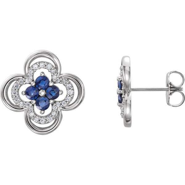 14k White Gold Genuine Blue Sapphire & 1/5 CTW Diamond Clover Earrings