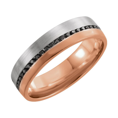 14k White Gold & Rose 6mm 1/3 ctw. Black Diamond Comfort-Fit Band with Brush Finish, Size 7