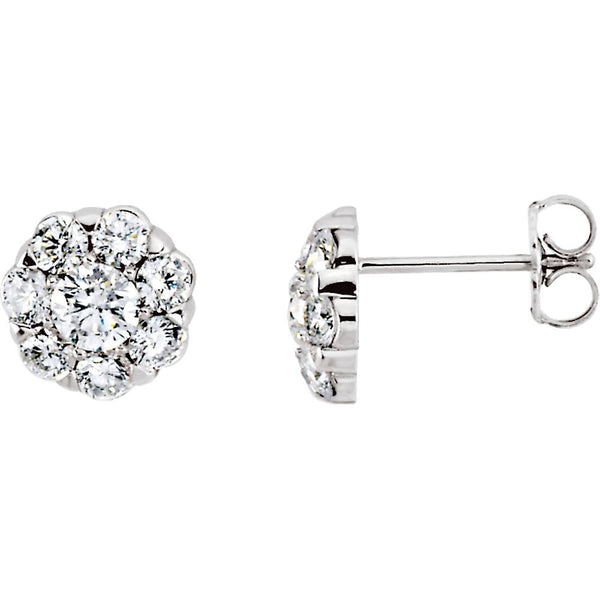 14k White Gold 2 CTW Diamond Cluster Earrings