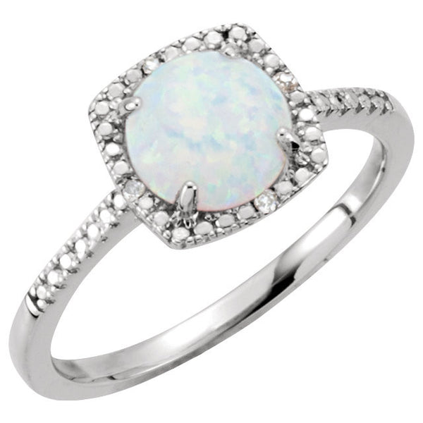 Sterling Silver Lab-Grown Opal & .01 CTW Diamond Ring, Size 5
