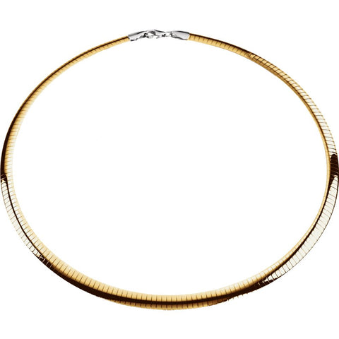Sterling Silver & 14k Yellow Gold 6mm Reversible Omega Chain