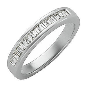 14k White Gold 1/3 CTW Diamond Baguette Anniversary Band Size 7