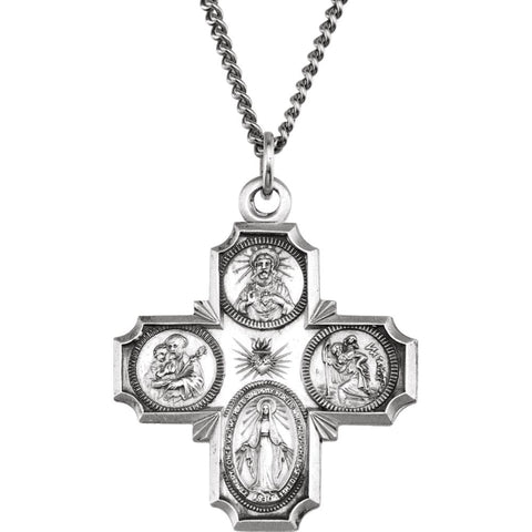 30.00x29.00 mm 4-Way Cross Medal with 24 inch Chain in Sterling Silver