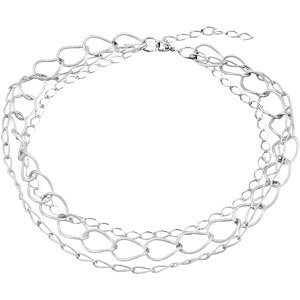 "Sterling Silver 3 Strand 16"" Necklace with a 2"" Extension"