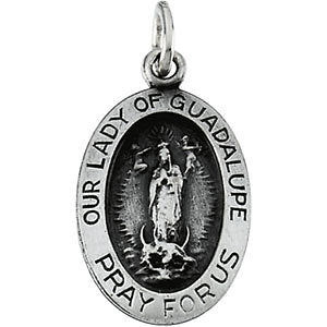 Sterling Silver 15.25x10.75mm Oval Our Lady of Guadalupe Medal