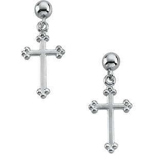 14k White Gold Cross & Ball Earrings