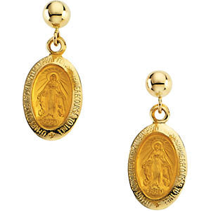 14k Yellow Gold 12x9mm Miraculous Dangle Earrings