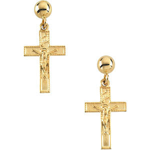 14k Yellow Gold 14x9mm Crucifix Ball Dangle Earrings