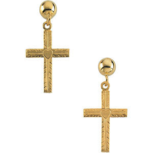 14k Yellow Gold 13x10mm Cross Ball Dangle Earrings