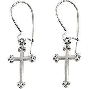 14k White Gold Cross Earrings