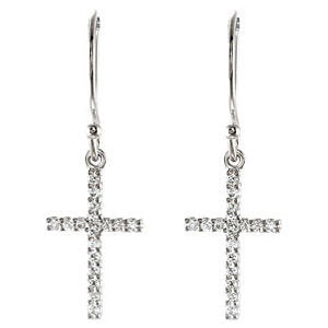 14k White Gold 1/6 CTW Diamond Cross Earrings