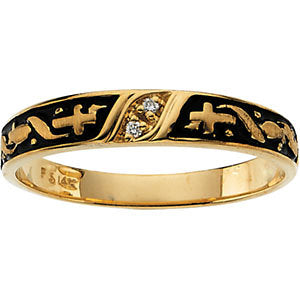 14k Yellow Gold Ladies Religious Diamond Band, Size 6