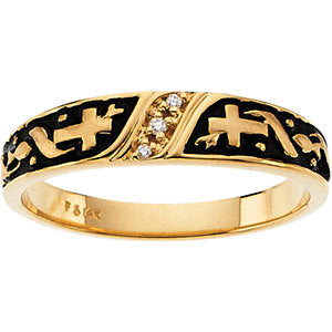 14k Yellow Gold Men's Religious Diamond Band, Size 11