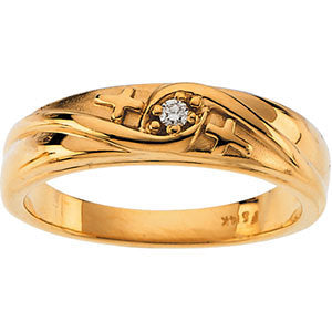 14k Yellow Gold Round Engagement Ring Mounting, Size 6