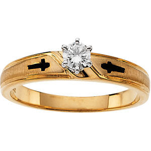 Elegant and Stylish Religious Engagement Ring (Part of Bridal Set) with Diamond in 14K Yellow Gold ( Size 6 ), 100% Satisfaction Guaranteed.