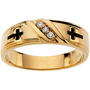 14k Yellow Gold Cross Solitaire Wedding Band, Size 11