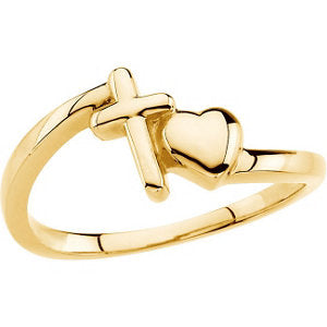 Cross & Heart Chastity Ring in 14K Yellow Gold (Size 6)