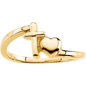 14k Yellow Gold Cross & Heart Chastity Rings® , Size 6