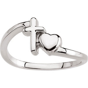 14k White Gold Cross & Heart Chastity Rings® , Size 6