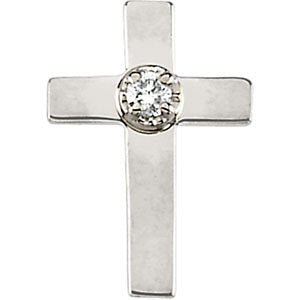 09.00x07.00 mm Cross Lapel Pin with Diamond in 14K Yellow Gold