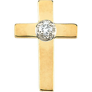 11.00x08.00 mm Cross Lapel Pin with Diamond in 14K Yellow Gold