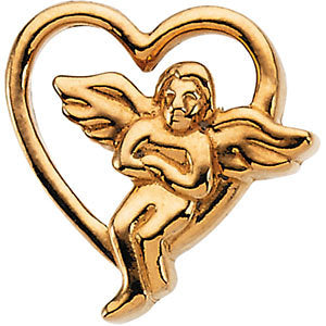 14k Yellow Gold Angel Lapel Pin