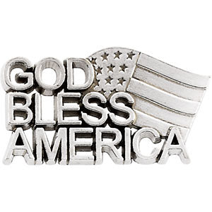 11.50x20.50 mm God Bless America Lapel Pin in Sterling Silver