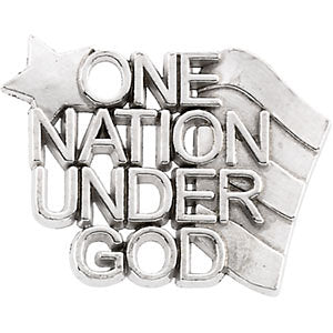 14.00x19.00 mm One Nation Under God Lapel Pin in Sterling Silver