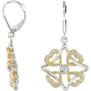 Pair of Faith Family Friends and Love Earrings Pair with Yellow Gold Plating in Sterling Silver