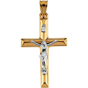 25.00x17.00 mm Two-Tone Crucifix Cross Pendant in 14K Yellow and White Gold