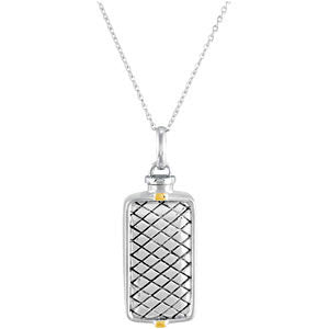 Sterling Silver Checkerboard Rectangle Ash Holder Necklace