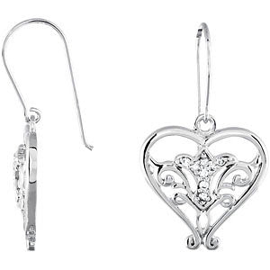 Pair of Pure In Heart Earrings with Card and Box in Sterling Silver